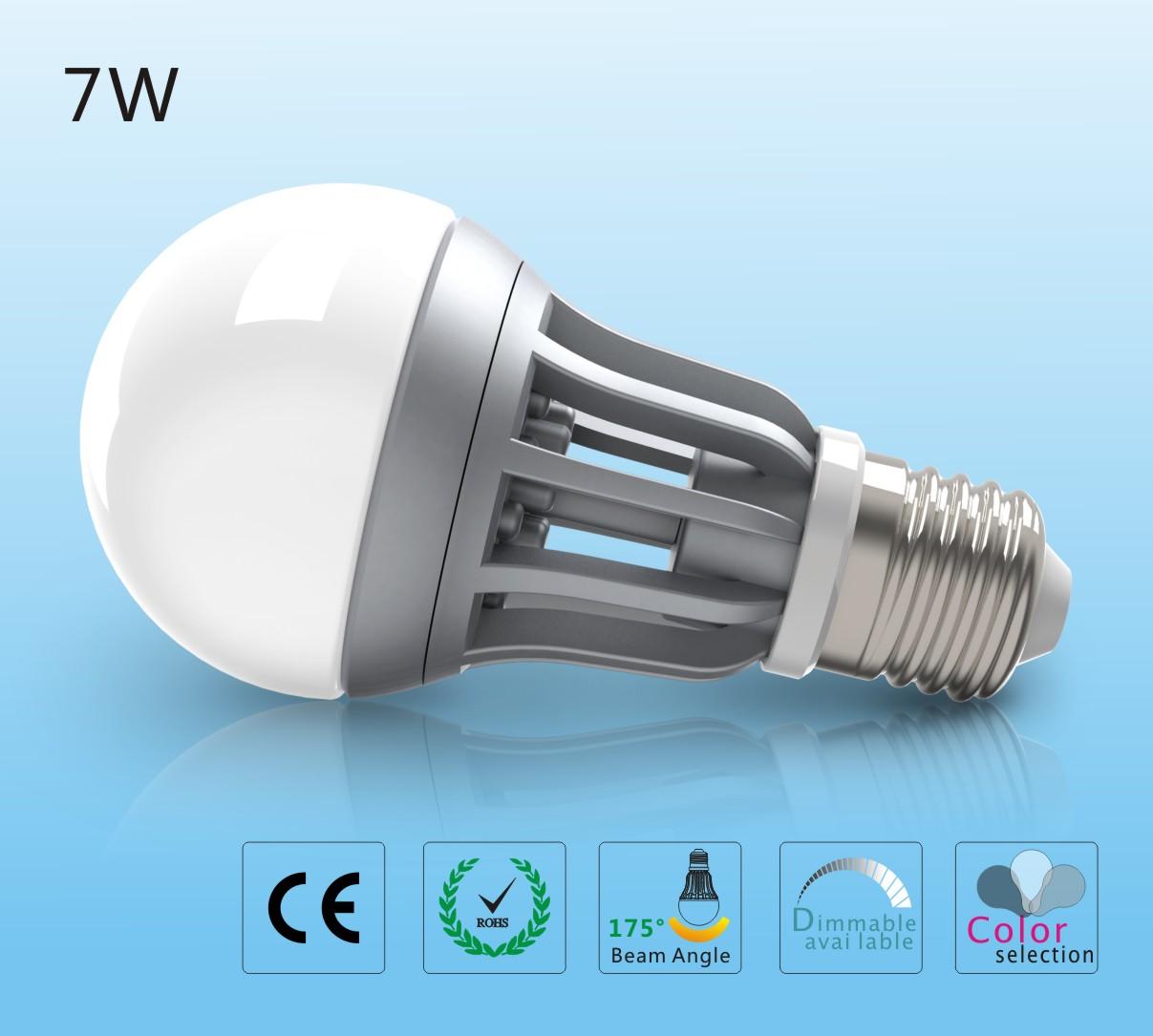 Led žárovka 7W E27 - teplá bílá